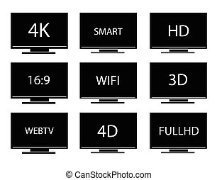 Collection of TV icons vector set.