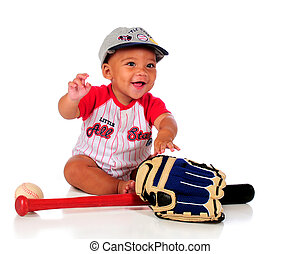 Young Ball Player - A happy, biracial baby in a baseball...