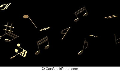 Brass Musical Notes On Black Background - Loop able 3DCG...