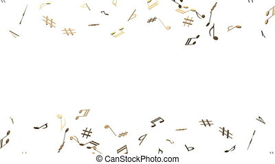Brass Musical Notes On White Background