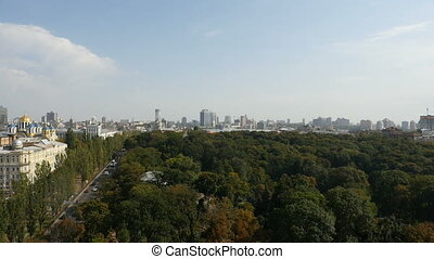 aerial cityscape over park looking in kyiv Ukraine - aerial...