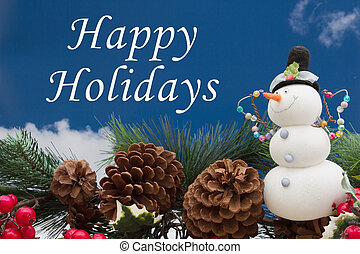 Old fashion Christmas greeting, Garland with a snowman, pine...