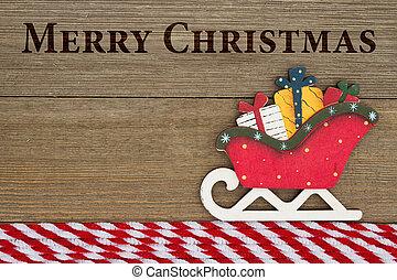 Old fashion Christmas greeting, A retro Christmas sleigh on...
