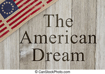 America patriotic message, USA patriotic old flag on a...