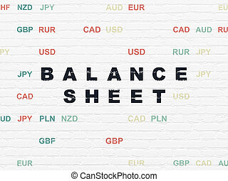 Banking concept: Balance Sheet on wall background - Banking...