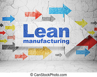 Industry concept: arrow with Lean Manufacturing on grunge...