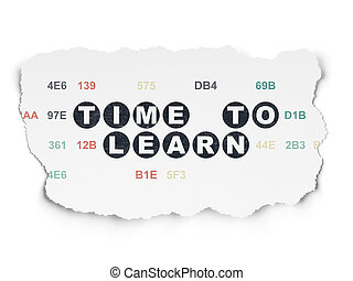 Timeline concept: Time to Learn on Torn Paper background -...