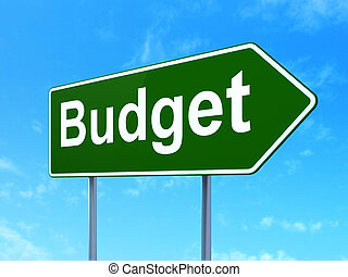 Banking concept: Budget on road sign background