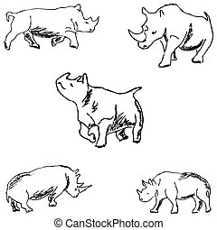 Rhinos. A sketch by hand. Pencil drawing. Vector image