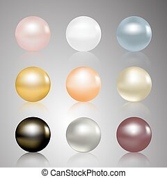 Pearls set. Beautiful shiny natural pearls. Nacreous and...