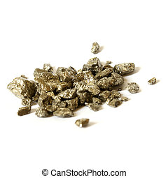 Troy Ounce of Gold Nuggets - An isolated pile of one troy...
