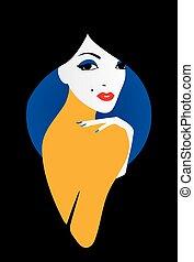 Stylish beautiful model for fashion design. Art deco graphic...