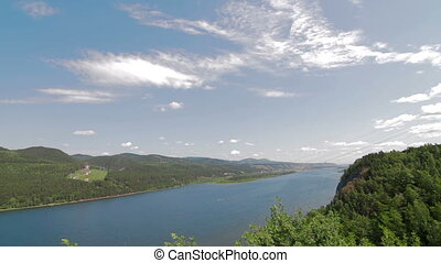 Scenic view from high mountain river clouds - Summer Nature...