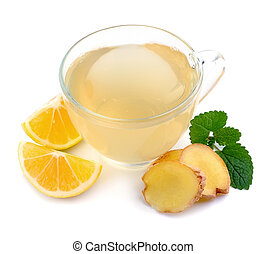 Cup tea with ginger and lemon isolated on a white...