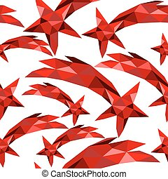 Shooting star seamless pattern red low poly xmas