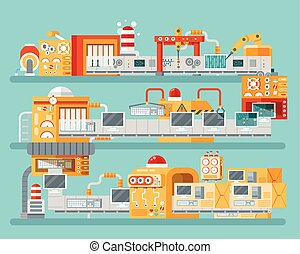 vertical illustration of conveyor for assembly and packaging, production  personal computers in flat style