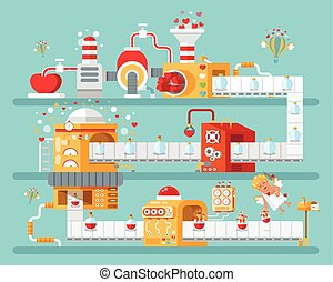 vertical illustration of isolated conveyor to create love...
