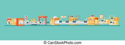 horizontal illustration of conveyor for assembly and...