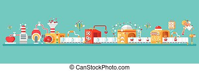horizontal illustration of isolated conveyor to create love...