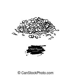 Chili Pepper hand drawn vector illustration of crushed pile....
