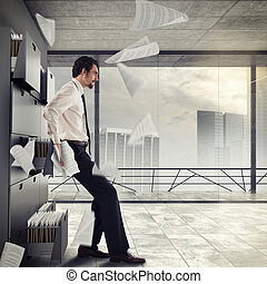 Overworked and stressed businessman - Businessman stressed...