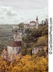 Rocamadour village on a cliff - Rocamadour, french village...