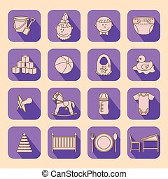 Child and baby care center flat icons with shadow....