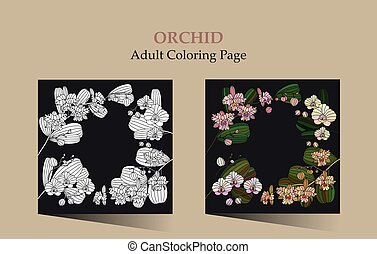 Cards with tropic flower - orchid. - Adult antistress...