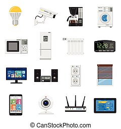 Smart House and internet of things flat icons set - Smart...