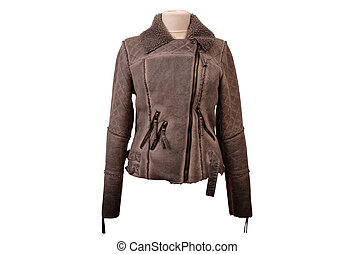 Isolated leather jackets - Nubuck leather jacket from a...