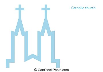 Vector illustration of catholic church, vector eps 10 icon background