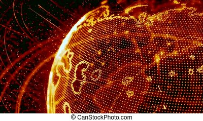 3d animation of a growing network across the world - red...