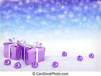 Christmas gift box and balls on snow.3D render