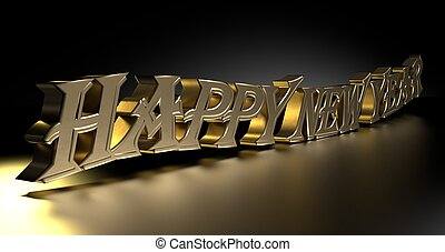 Happy new year with golden letters, on black background
