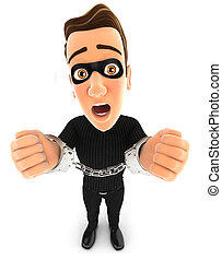 3d thief under arrest and handcuffed, illustration with...