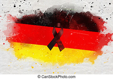 pray for berlin,  germany country flag color background with black ribbon, painted with watercolor effect