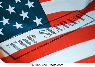 Top secret stamp on the united states of america flag