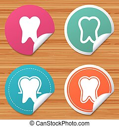 Tooth enamel protection icons. Dental care signs. - Round...