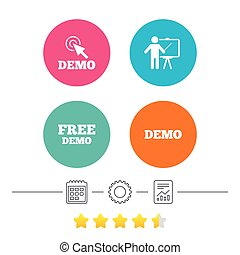Demo with cursor icon. Presentation billboard.