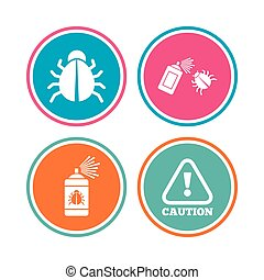 Bug disinfection signs. Caution attention icon. - Bug...