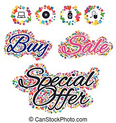 Notebook pc and Usb flash drive stick icons. - Sale confetti...