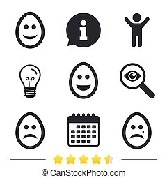 Eggs happy and sad faces signs. Easter icons. - Eggs happy...
