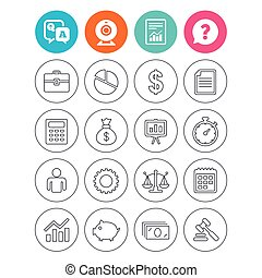 Business line icons. Money, chart and document. - Business...