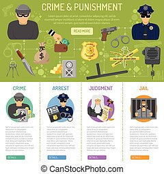 Crime and Punishment infographics with flat icons Policeman,...