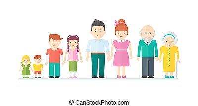 big happy family - Aging concept of female and male...