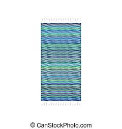 Blue carpet vector illustration, isolated on white background. Rug top view.
