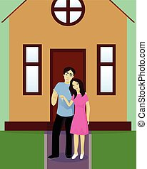Happy couple with house keys vector illustration