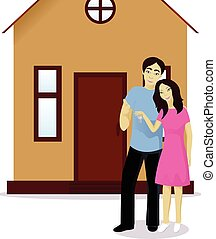 Happy couple with house keys isolated on white vector...