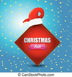 vector Christmas sales tag or label with red santa hat...