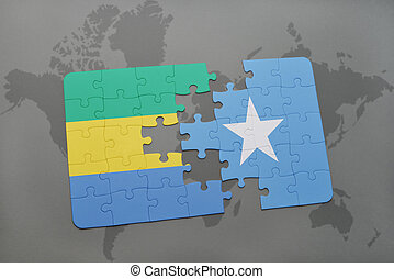 puzzle with the national flag of gabon and somalia on a...